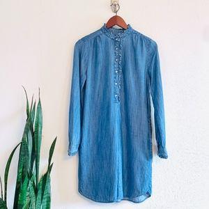 Loft Ruffle Trim Chambray Dress w/ Pockets Small